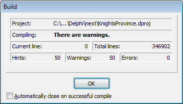 Fixing Delphi project compilation time | Knights Province